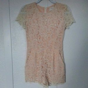 Everly Peach Lace Jumpsuit/Romper with Pockets S